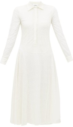Jil Sander Floral Eyelet-lace Voile Midi Dress - Womens - Ivory