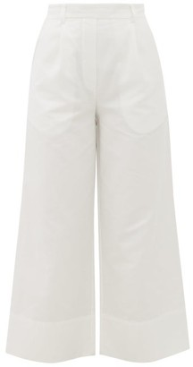Matteau - The Cropped Summer Cotton-blend Trousers - Womens - White