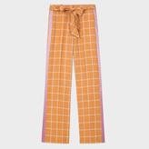 Paul Smith Women's Tan Windowpane Check Parallel Leg Trousers With Silk Stripes