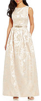 Jessica Howard Sleeveless Belted Brocade Ballgown