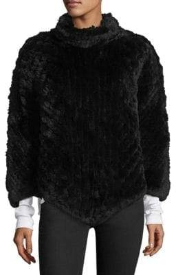 Surell Rabbit Fur Poncho