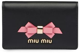 Miu Miu bow detail business card holder