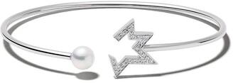 Tasaki 18kt white gold Comet Plus diamond and pearl bangle