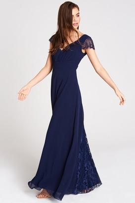 Little Mistress Bianca Lace Trim Maxi Dress In Navy