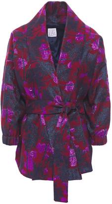 Stella Jean Belted Metallic Cotton-blend Jacquard Jacket
