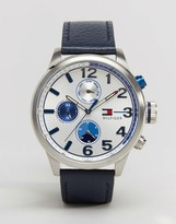 Tommy Hilfiger Jackson Leather Watch In Navy 1791240