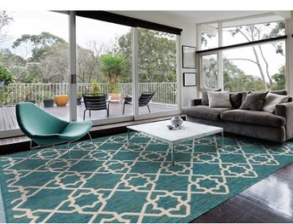 Charlton Home Barnhart Trellis Blue Indoor/Outdoor Area Rug