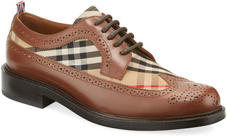 Burberry Men's Arndale Vintage Check Brogue Leather Derby Shoes