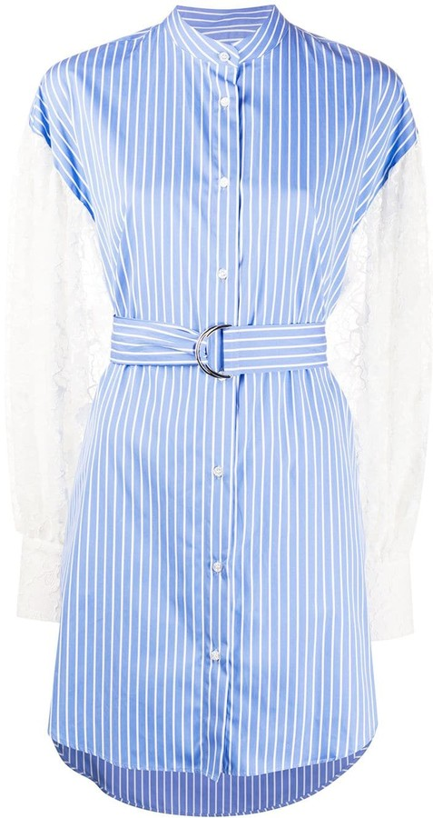 MSGM Floral Lace Sleeve Striped Dress