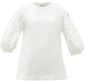 4 Moncler Simone Rocha - Broderie Anglaise-sleeved Cotton-jersey T-shirt - White