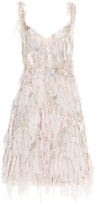 Paule Ka Patchwork Jacquard Fringe Dress