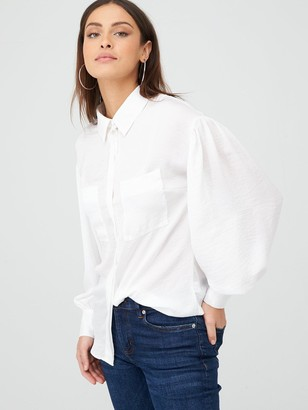 Very Formal Sleeve Detail Button Through Shirt - Ivory