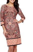 London Times London Style Collection 3/4-Sleeve Medallion Print Shift Dress
