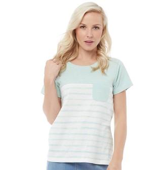 Weird Fish Womens Paros Stripe T-Shirt Honey Dew