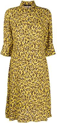 Seventy Leopard Print Pleated Hem Shirt Dress