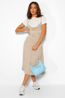 boohoo Short Sleeve T-Shirt & Ditsy Floral Midi Slip Dress