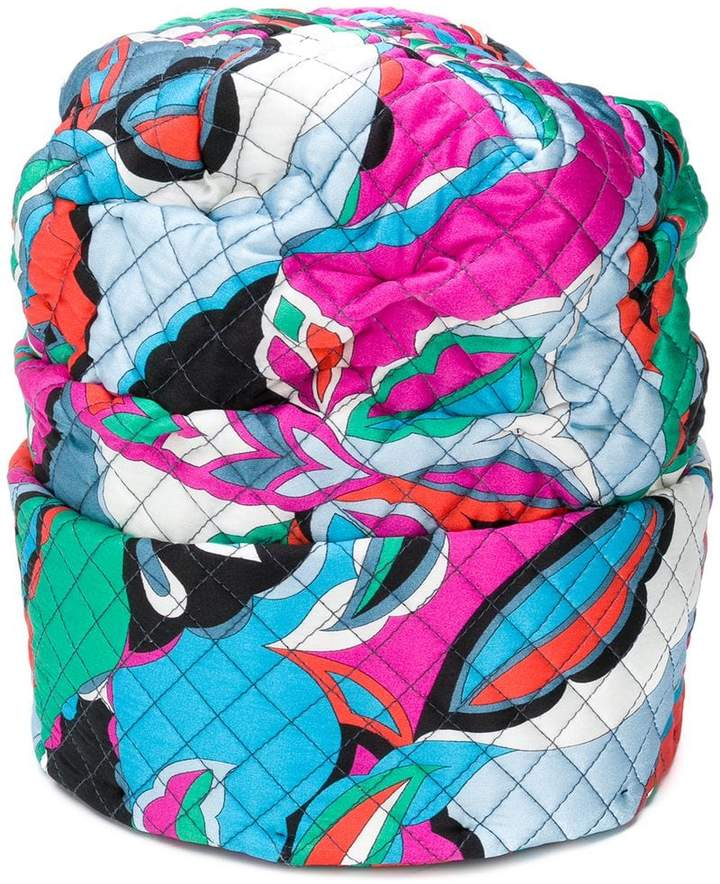 Emilio Pucci roll bottom quilted hat