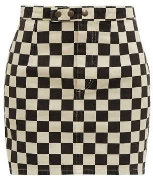 Saint Laurent Checkerboard Print Denim Mini Skirt - Womens - Black White
