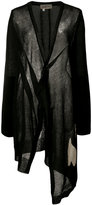 Yohji Yamamoto Abstract Intersia V-neck cardigan - women - Linen/Flax/Polyester - 2