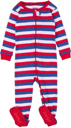 Leveret Red White and Blue Stripes Footed Sleeper Pajama