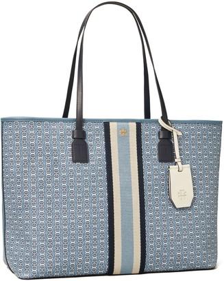 Tory Burch Gemini Link Canvas Top-Zip Tote Bag