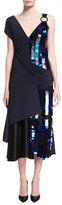 Diane von Furstenberg Asymmetric Draped Silk Midi Cocktail Dress w/ Paillettes
