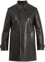 Prada Point-collar leather coat