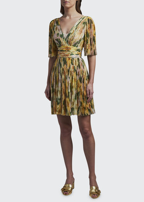 Dolce & Gabbana Floral Print Silk V-Neck Dress