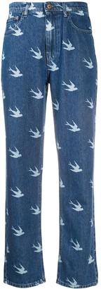 McQ Swallow Sparrow Print High-Rise Jeans