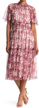 Taylor Chiffon Printed Smocked Waist Dress