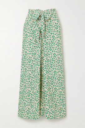 Ganni Tie-front Floral-print Crepe Midi Skirt - Green