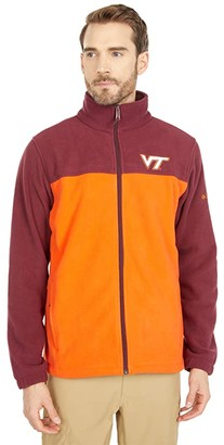 Columbia College Virginia Tech Hokies Flanker III Fleece Jacket (Deep Maroon/Tangy Orange) Men's Clothing
