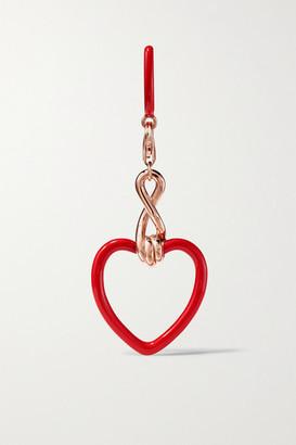 BEA BONGIASCA 9-karat Rose Gold And Enamel Earring - Red