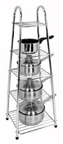 Buckingham 90 cm Height Premium Chrome Plated 5-Tier Pots and Pan Stand, Silver
