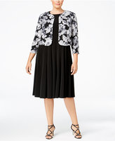 Jessica Howard Plus Size A-Line Dress and Floral-Print Jacket
