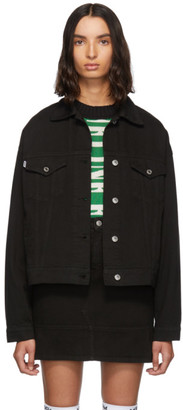 MSGM Black Denim Stamped Jacket