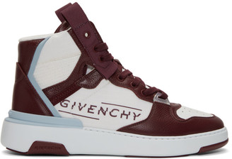 Givenchy Burgundy and White Wing Sneakers