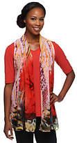 Susan Graver Liquid Knit Top w/ Printed SheerChiffon Vest