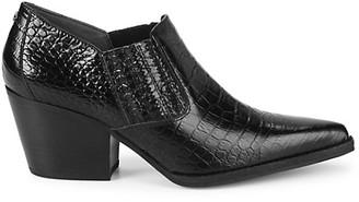Sam Edelman Walton Croc-Embossed Leather Booties