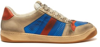 Gucci Virtus Distressed-leather Low-top Trainers - Mens - Blue Multi