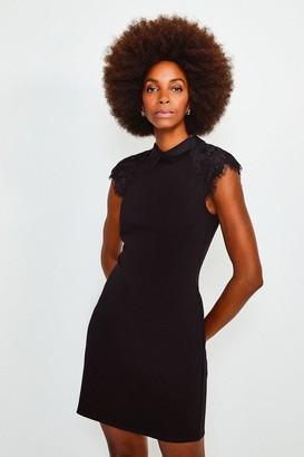 Karen Millen Collared Lace Panel Jersey Dress