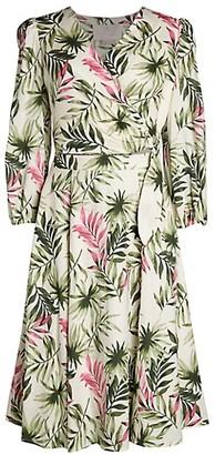 Gal Meets Glam 2-Piece Palm Leaf Wrap Dress