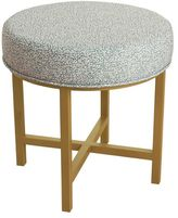 HomePop Round Ottoman with Indigo Dot Fabric and Gold Metal X Base