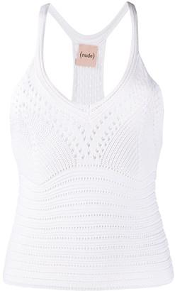 Nude Crochet Knit Top