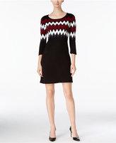 Sandra Darren Petite Chevron Sweater Dress