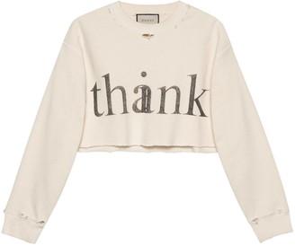 Gucci 'think/Thank' Print Crop Sweatshirt