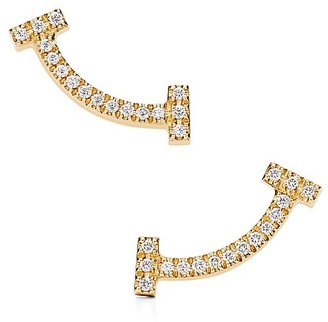 Tiffany & Co. T smile earrings in 18k gold with diamonds