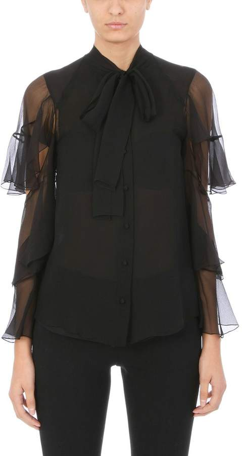 Chloé Pussy-bow Ruffled Black Silk-mousseline Blouse