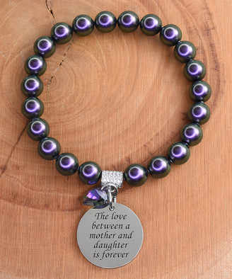 Swarovski Pink Box Women's Bracelets PURPLE - Stainless Steel Love Mother Bracelet With Crystals