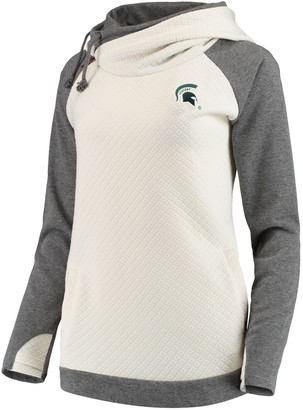 Unbranded Women's Cream/Charcoal Michigan State Spartans More Chill Layered Quilted Jacquard Pullover Hooded Sweatshirt